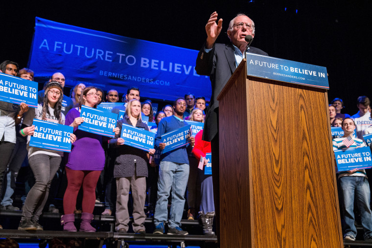 Democratic presidential hopeful, Sen. Bernie Sanders (D-VT) speaks at a campaign rally at the Pinkerton Academy Stockbridge Theatre, Feb. 8, 2016 in Derry, N.H. (Photo by Andrew Burton/Getty)