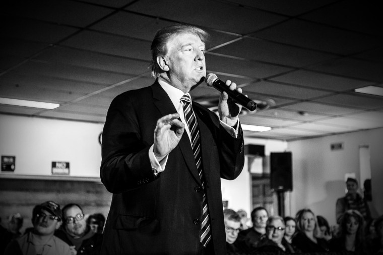 Republican presidential candidate Donald Trump speaks at an event at Elks Lodge in Salem, N.H., on Feb. 8, 2016. (Photo by Mark Peterson/Redux for MSNBC)