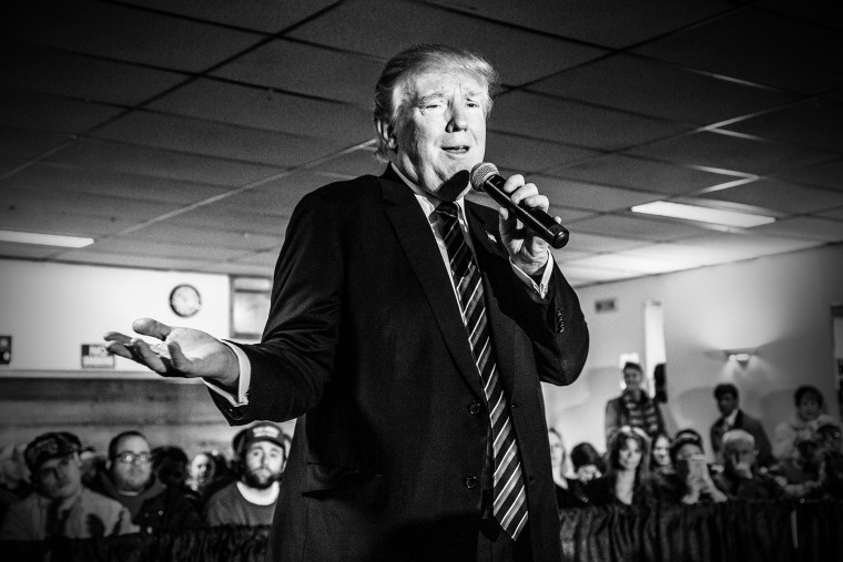 Donald Trump campaigns in N.H. on Feb. 8, 2016 ahead of the primary that will be held in the state on Tuesday. (Photo by Mark Peterson/Redux for MSNBC)