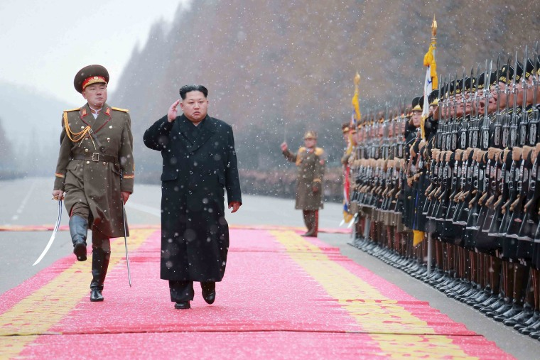 North Korean leader Kim Jong Un salutes during a visit to the Ministry of the People's Armed Forces on the occasion of the new year, in this undated photo released by North Korea's Korean Central News Agency (KCNA) on Jan. 10, 2016. Photo by KCNA/Reuters