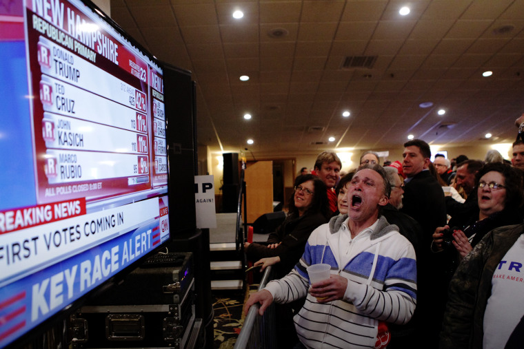 Trump supporters cheer as a television screen shows early poll numbers at Trump's election night rally on Feb. 9, 2016 in Manchester, N.H. (Photo by Matthew Cavanaugh/Getty)