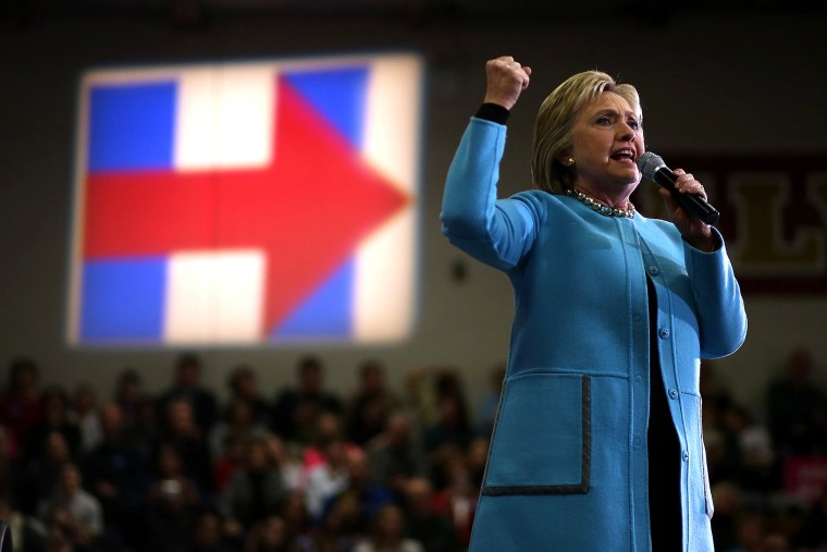 """Democratic presidential candidate former Secretary of State Hillary Clinton speaks during a """"Get Out The Vote"""" event at Alvime High School on Feb. 8, 2016 in Hudson, N.H. (Photo by Justin Sullivan/Getty)"""