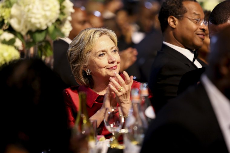 Democratic presidential candidate Hillary Clinton applauds a speaker at the Congressional Black Caucus Foundation's 45th Annual Legislative Conference Phoenix Awards Dinner, Sept. 19, 2015 in Washington, DC. (Photo by Aude Guerrucci/Pool/Getty)