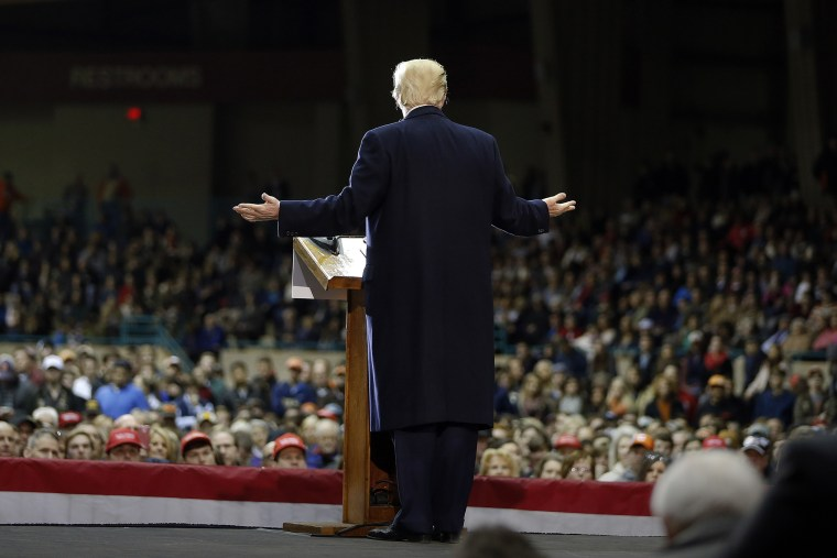 Republican presidential candidate Donald Trump speaks during a rally at Clemson University, Feb. 10, 2016, in Pendleton, S.C. (Photo by John Bazemore/AP)