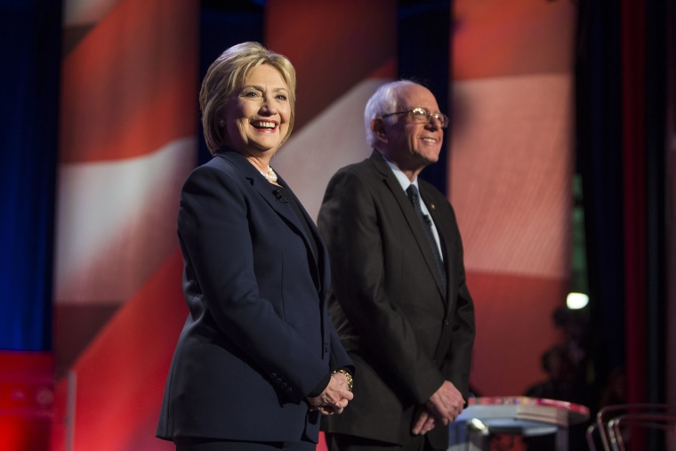 "Hillary Clinton and Bernie Sanders appear during the ""MSNBC Democratic Candidates Debate"" on Feb. 4, 2016 at the University of New Hampshire at Durham in Durham, N.H. (Photo by Scott Eisen/MSNBC/NBCU Photo Bank/Getty)"
