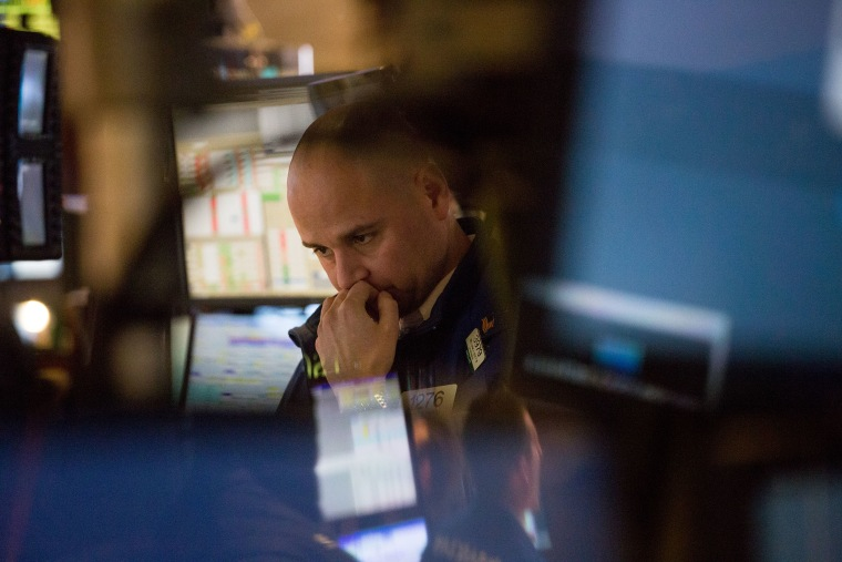 A trader works on the floor of the New York Stock Exchange (NYSE) in New York, Feb. 8, 2016. (Photo by Michael Nagle/Bloomberg/Getty)