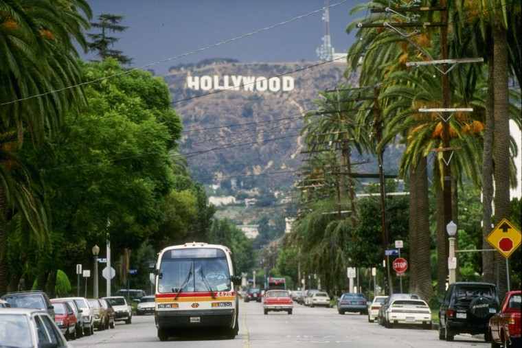 General view of the Hollywood sign above Los Angeles, Calif. (Photo by Ken Levine/Getty)