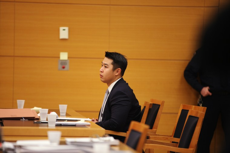 New York City police officer Peter Liang sits in court as testimony is read back for jurors during deliberations in his trial in Brooklyn Supreme Court, Feb. 10, 2016 in New York City. (Photo by Byron Smith/Pool/Getty)