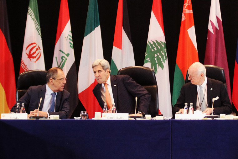 Russian foreign minister Sergey Lavrov, U.S. Secretary of State John Kerry and UN special envoy on Syria Staffan de Mistura are pictured during a meeting of the ISSG on Feb. 11, 2016 in Munich, Germany. (Photo by Alexandra Beier/Pool/Getty)