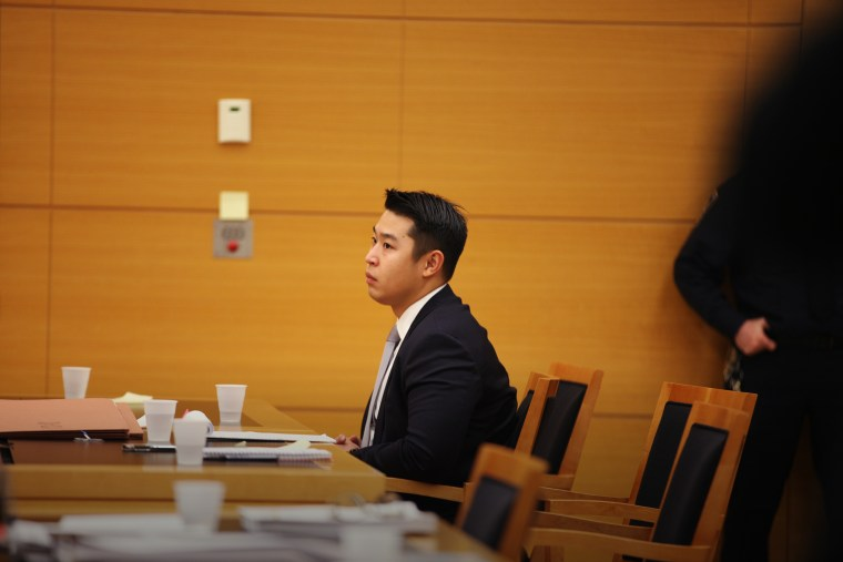 New York City police officer Peter Liang sits in court as testimony is read back for jurors during deliberations in his trial in Brooklyn Supreme Court Feb. 10, 2016 in New York City. (Photo by Byron Smith/Pool/Getty)