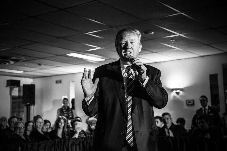 Republican presidential candidate Donald Trump campaigns in New Hampshire on Feb. 8, 2016 ahead of the primary. (Photo by Mark Peterson/Redux for MSNBC)