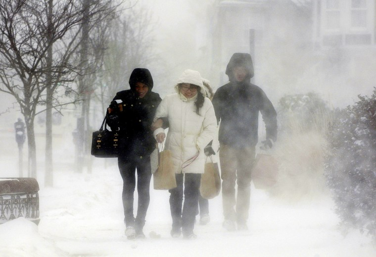 Elmwood Village residents after purchasing necessities from a grocery store, Buffalo, N.Y., Jan. 7, 2014. A deadly blast of arctic air shattered decades-old temperature records as it enveloped the eastern U.S. (Photo by Don Heupel/Reuters)