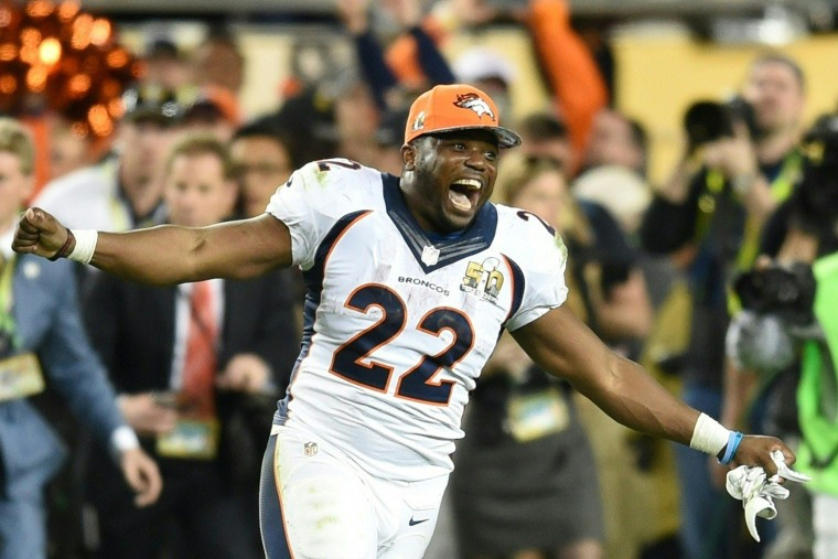 C. J. Anderson of the Denver Broncos celebrates after Super Bowl 50 at Levi's Stadium in Santa Clara, Calif., Feb. 7, 2016. The Broncos beat the Carolina Panthers 24-10. (Photo by Timothy A. Clary/AFP/Getty)