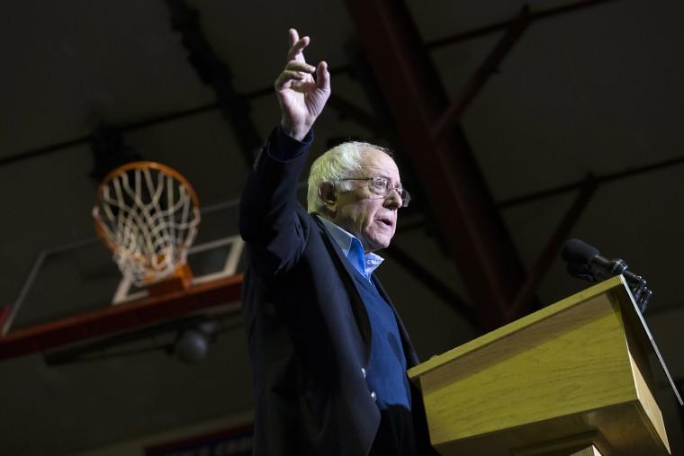 Democratic presidential candidate Sen. Bernie Sanders (I-Vt) gestures during a campaign speech, Feb. 8, 2016, in Nashua, N.H. (Photo by John Minchillo/AP)