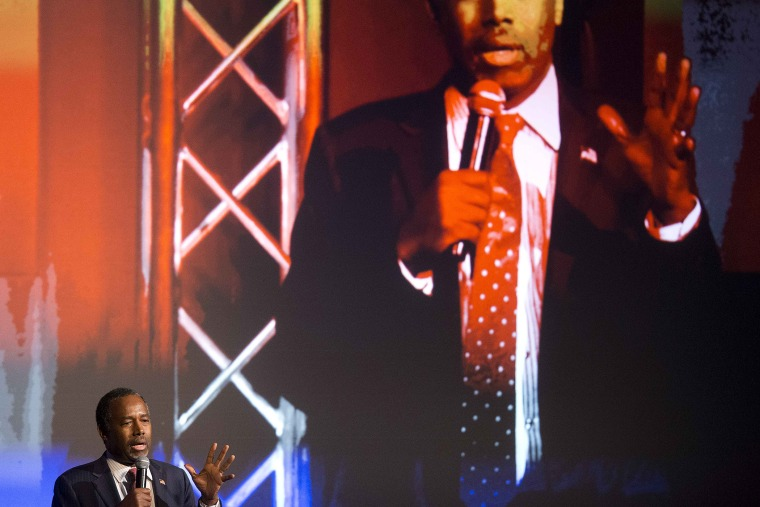 Republican presidential candidate Dr. Ben Carson speaks to the Carolina Values Summit at Winthrop University, Feb. 11, 2016, in Rock Hill, S.C. (Photo by John Bazemore/AP)