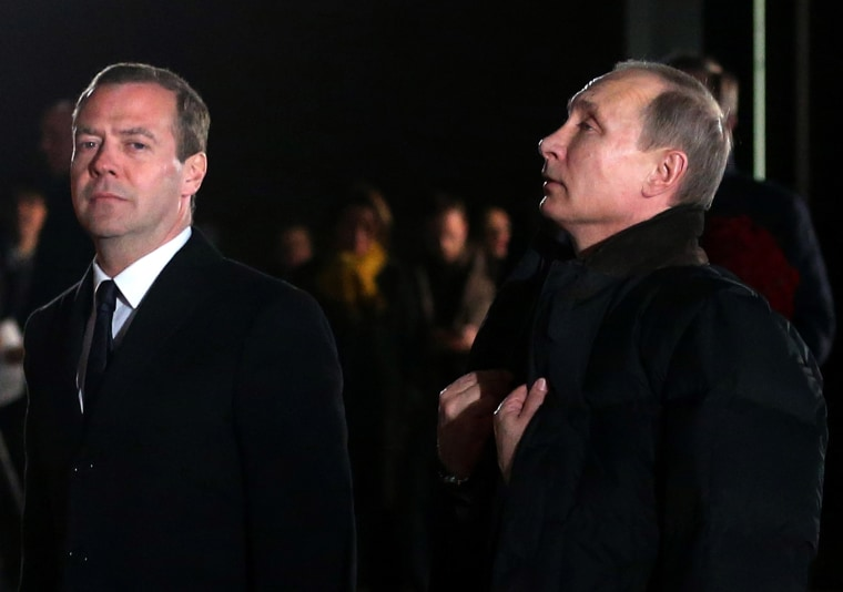 Russian President Vladimir Putin and Russian Prime Minister Dmitry Medvedev during the opening of the Yeltsin Center on Nov. 25, 2015 in Nizhny Tagil, near Yekaterinburg, Russia. (Photo by Sasha Mordovets/Getty)