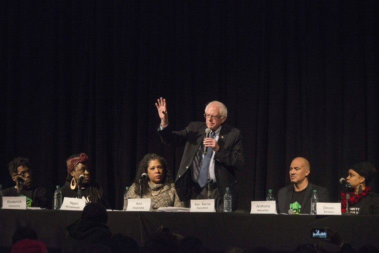 Bernie Sanders answers questions on wage disparity, incarceration rates of, and reparations for, black Americans, at a forum on race and economic opportunity at Patrick Henry High School, Feb. 12, 2016, Minneapolis, Minn. (Photo by Stephen Maturen/Getty)