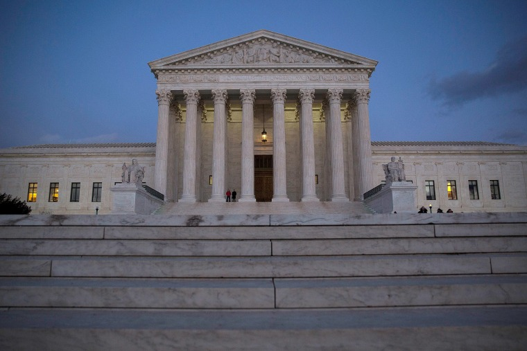 The U.S. Supreme Court is seen at dusk, Feb. 13, 2016 in Washington, DC. Supreme Court Justice Antonin Scalia was at a Texas Ranch Saturday morning when he died at the age of 79. (Photo by Drew Angerer/Getty)