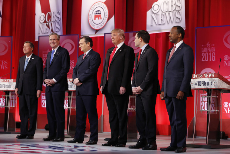 Republican presidential candidates take the stage before the CBS News Republican presidential debate at the Peace Center, Feb. 13, 2016, in Greenville, S.C. (Photo by John Bazemore/AP)