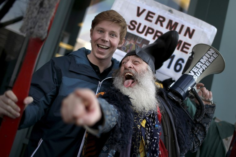 Vermin Supreme, a candidate for U.S. president campaigns along Elm Street in downtown Manchester, N.H., Feb. 6, 2016. (Photo by Mike Segar/Reuters)
