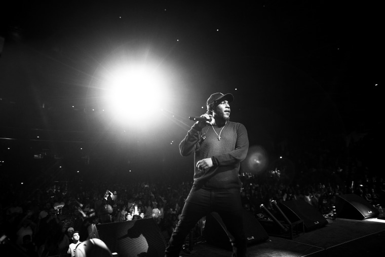 Hip hop artist Kendrick Lamar performs onstage during the Ice Cube, Kendrick Lamar, Snoop Dogg, Schoolboy Q, Ab-Soul, Jay Rock concert at Staples Center on June 27, 2015 in Los Angeles, Calif. (Photo by Christopher Polk/BET/Getty for BET)