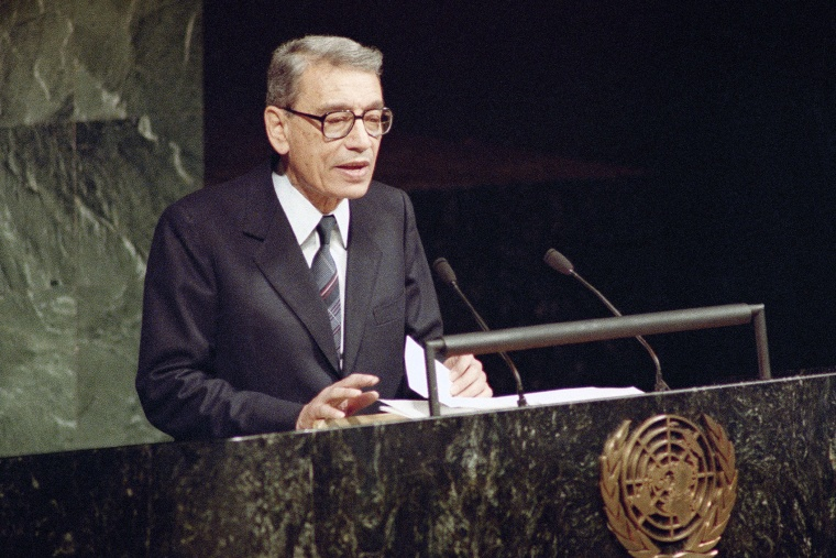 In this Dec. 31, 1991 file photo, Boutros Boutros-Ghali, then Deputy Foreign Minister of Egypt, addresses the United Nations General Assembly after being sworn in as the new U.S. Secretary-General in United Nations. (Photo by Marty Lederhandler/AP)