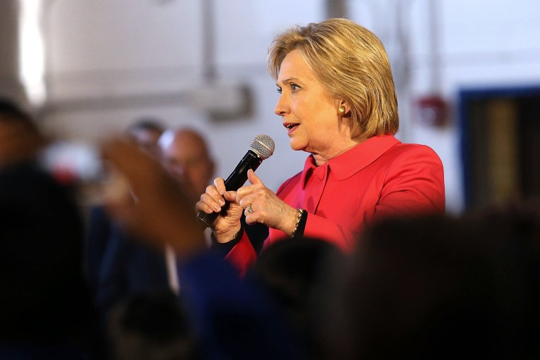 Democratic presidential candidate Hillary Clinton speaks to voters on Feb. 12, 2016 in Denmark, S.C. (Photo by Spencer Platt/Getty)