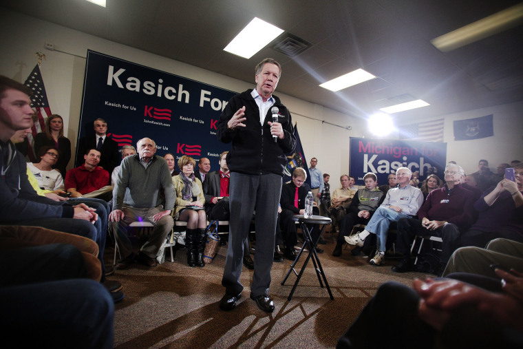 Ohio Governor and Republican Presidential Candidate John Kasich holds a Town Hall meeting Feb. 16, 2016 in Livonia, Mich. (Photo by Bill Pugliano/Getty)