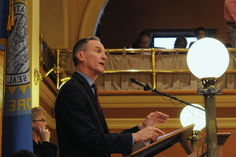 South Dakota Gov. Dennis Daugaard speaks during his budget address at the state Capitol in Pierre, S.D., Dec. 8, 2015. (Photo by James Nord/AP)