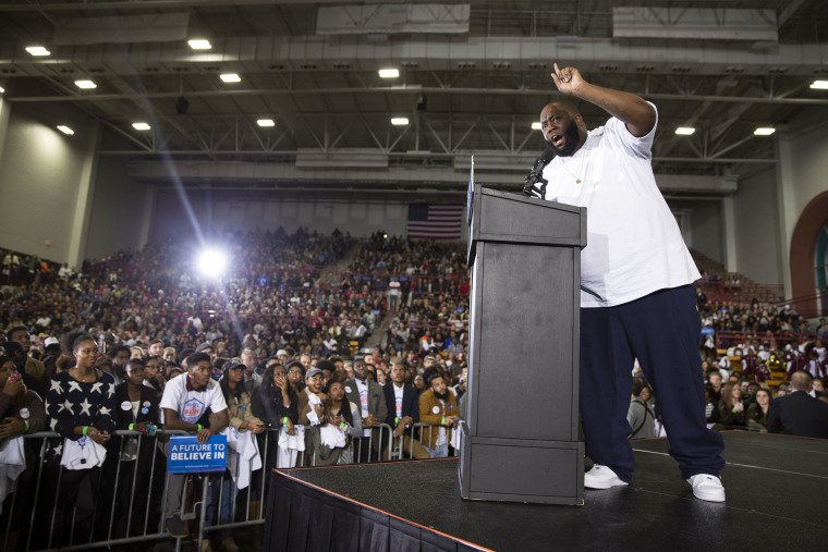 Hip Hop artist and activist Killer Mike speaks during a rally with Democratic presidential candidate Sen. Bernie Sanders, I-Vt., at Morehouse College, on Feb. 16, 2016, in Atlanta, Ga. (Photo by Evan Vucci/AP)