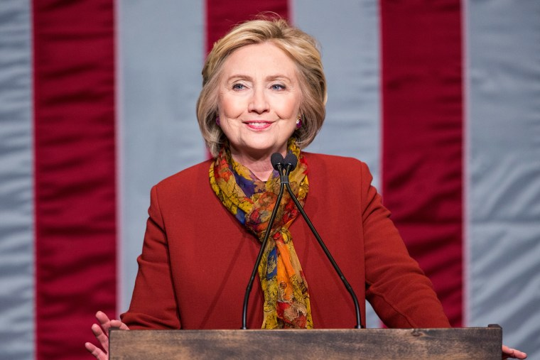 Democratic presidential candidate and former Secretary of State Hillary Clinton speaks at the Schomburg Center for Research in Black Culture on Feb. 16, 2016 in New York City.  (Photo by Andrew Burton/Getty)