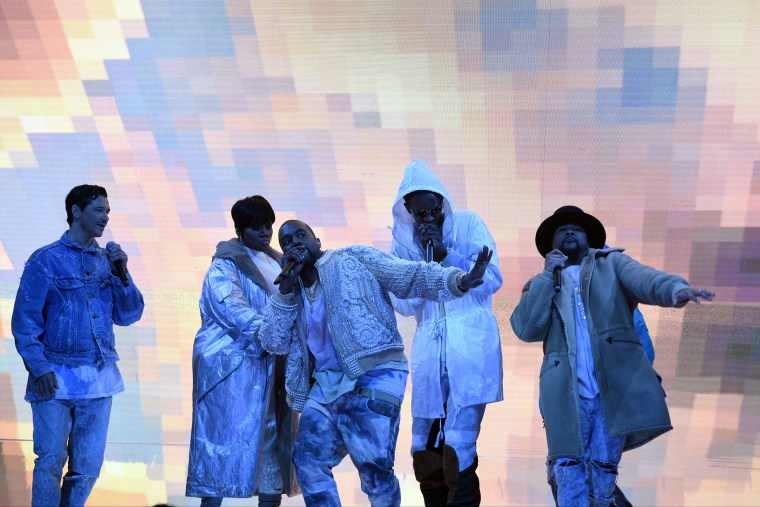 Kanye West performs on Saturday Night Live, Feb. 13, 2016. (Photo by Dana Edelson/NBC/NBCU Photo Bank/Getty)