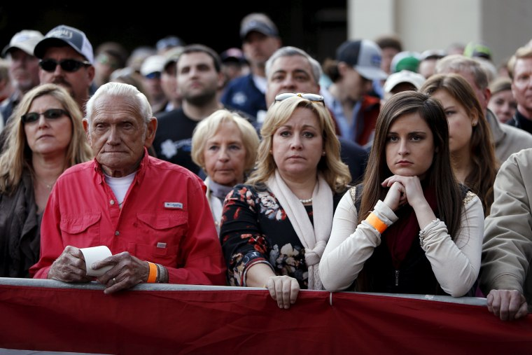 Supporters listen as a Republican presidential candidate speaks at a rally in Walterboro, S.C., Feb, 17, 2016. (Photo by Jonathan Ernst/Reuters)