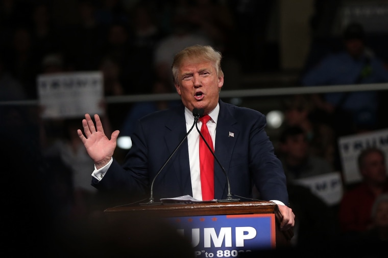 Republican presidential candidate Donald Trump speaks on Feb. 17, 2016 in Sumter, S.C. (Photo by Spencer Platt/Getty)