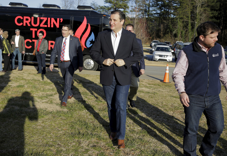 U.S. Republican presidential candidate Senator Ted Cruz (R-TX) arrives for a campaign event at the Oakbrook Preparatory School in Spartanburg, S.C., Feb. 17, 2016. (Photo by Joshua Roberts/Reuters)