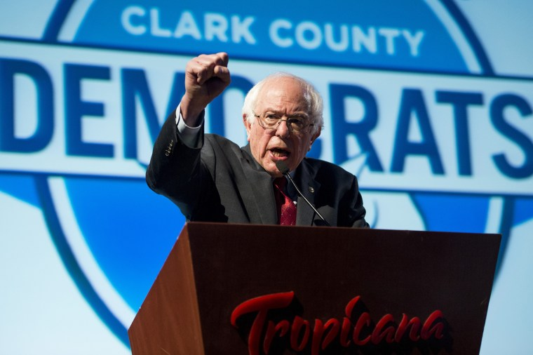 Bernie Sanders speaks during the Clark County Democratic Party Kick Off to Caucus Dinner at the Tropicana in Las Vegas, Nev., Feb. 18, 2016, two days before the Nevada Democrats' presidential caucus. (Photo By Bill Clark/CQ Roll Call/Getty)