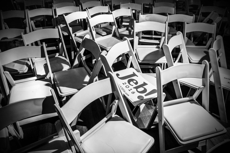 A sign supporting Republican presidential candidate Jeb Bush is left behind at a rally in Rock Hill, S.C., on Feb. 18, 2016. (Photo by Mark Peterson/Redux for MSNBC)