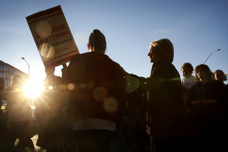 Democratic presidential candidate Hillary Clinton meets with Culinary Union members holding a rally outside of Sunrise Hospital, Feb. 18, 2016, in Las Vegas. (Photo by John Locher/AP)