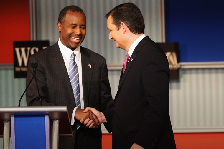 Presidential candidate Ben Carsonshakes hands with Sen. Ted Cruz, after a Republican Presidential Debate on Nov. 10, 2015 in Milwaukee, Wis. (Photo by Scott Olson/Getty)