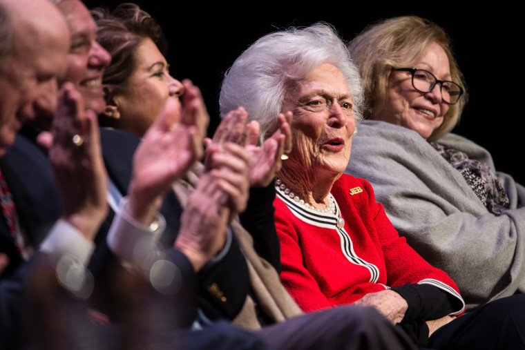 Former first lady Mrs. Barbara Bush listens to her son, Republican presidential candidate Jeb Bush, at a campaign event Feb. 19, 2016 in Greenville, S.C. (Photo by Sean Rayford/Getty)