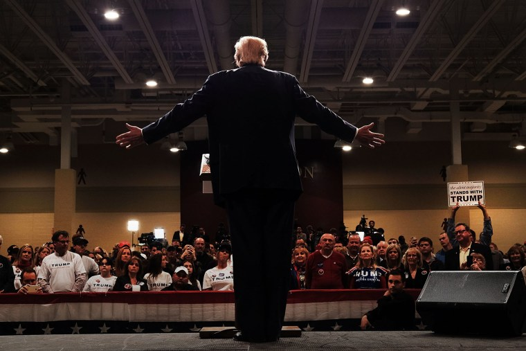 Donald Trump speaks to South Carolina voters on the eve of the state's primary on Feb. 19, 2016 in North Charleston, S.C. (Photo by Spencer Platt/Getty)