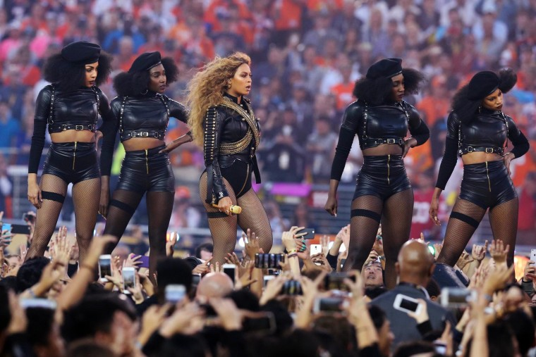 Beyonce performs during halftime in Super Bowl 50 at Levi's Stadium, Feb. 7, 2016. (Photo by Matthew Emmons/USA TODAY/Reuters)