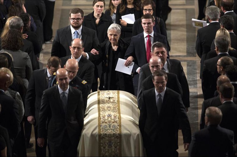 Supreme Court Justice Antonin Scalia's widow, Maureen McCarthy Scalia, walks behind the casket following his funeral Mass at the Basilica of the National Shrine of the Immaculate Conception in Washington, Feb. 20, 2016. (Photo by Doug Mills/Reuters)