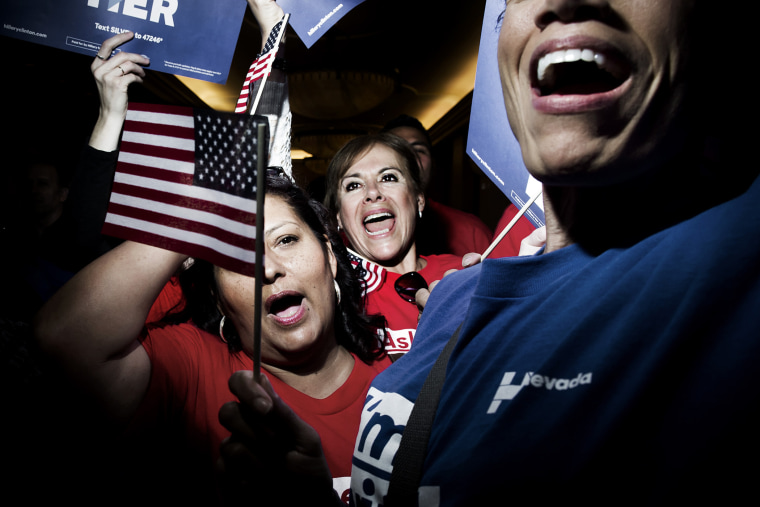 Hillary Clinton supporters celebrate her victory in the Democratic caucus in Las Vegas, Nev. on Feb. 20, 2015. (Photo by Dina Litovsky/Redux for MSNBC)