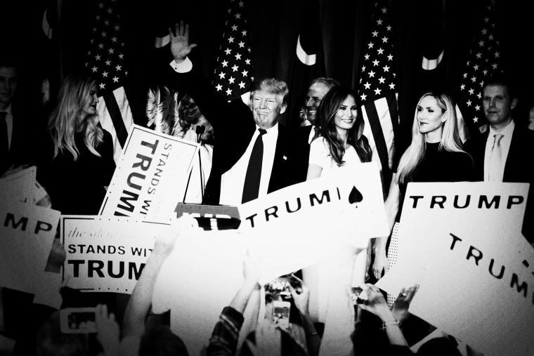Republican presidential candidate Donald Trump celebrates his victory in the S.C. primary on Feb. 20, 2016. (Photo by Mark Peterson/Redux for MSNBC)