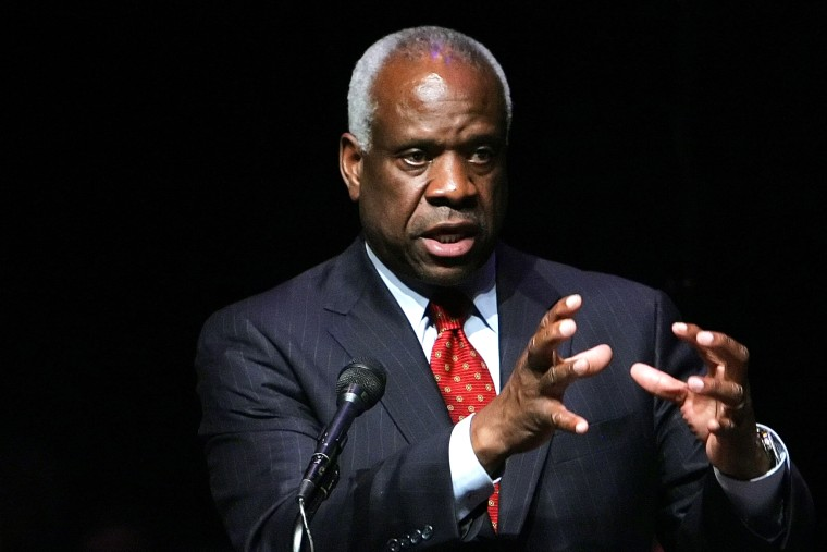 Associate Justice of the U.S. Supreme Court Clarence Thomas speaks at Marshall University in Huntington, W. Va., in this Sept. 10, 2007, file photo. (Photo by Randy Snyder/AP)