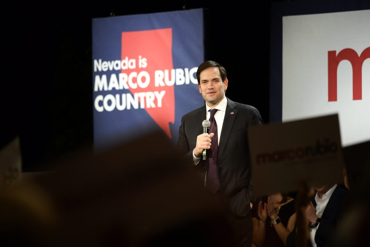 Republican Presidential candidate Sen. Marco Rubio addresses supporters at a rally at Texas Station in Las Vegas, Nev., Feb. 21, 2016. (Photo by Mike Nelson/EPA)