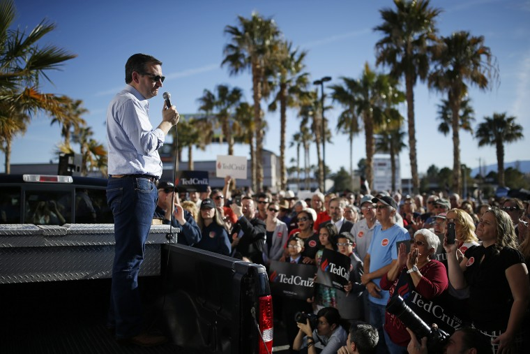 Republican presidential candidate Sen. Ted Cruz, R-Texas, speaks from the bed of a truck at a rally, Feb. 21, 2016, in Pahrump, Nev. (Photo by John Locher/AP)