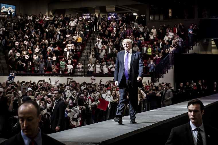 Donald Trump comes out to speak to supporters on the eve of his win of the Republican caucuses in Las Vegas, Nevada, Feb. 22, 2016.