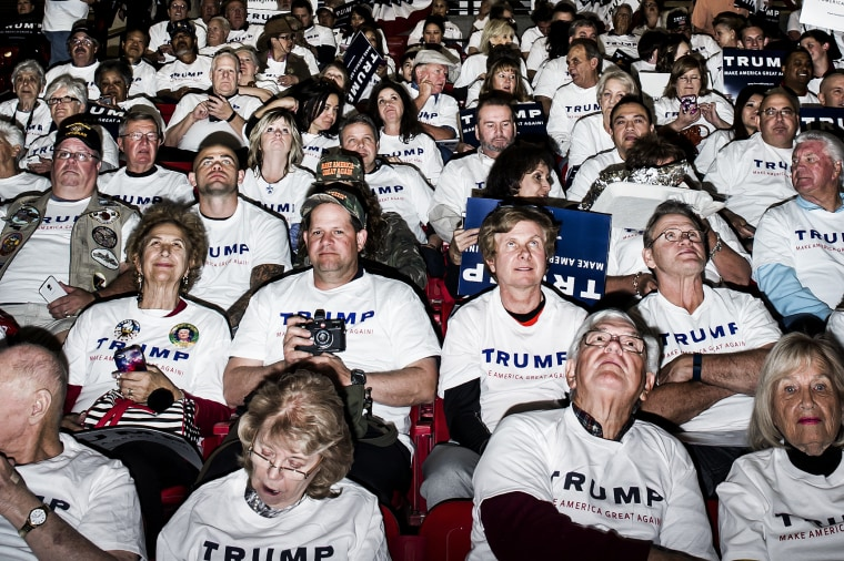 Donald Trump supporters attend a rally for the candidate in Las Vegas, Nev., Feb. 22, 2016.